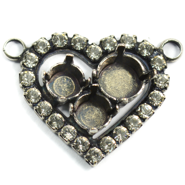 29ss and 39ss Heart pendant base with 2 top loops