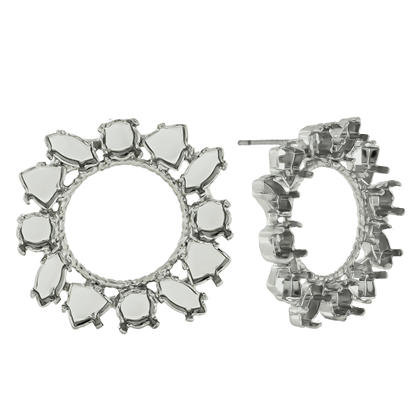 Mixed size settings hollow circle mirror reflection Stud earring bases