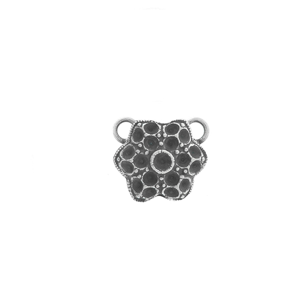 14pp, 18pp Small Decorative Flower metal casting Pendant base with two top loops