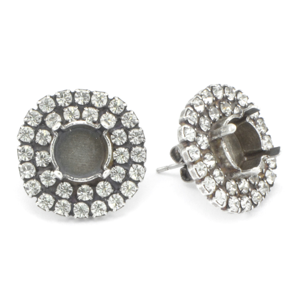 39ss Stud Earrings base with 2 rows of Rhinestones around