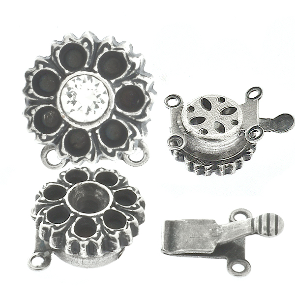 32pp, 14pp Metal casting flower on Decorated Hidden Round Box Clasp