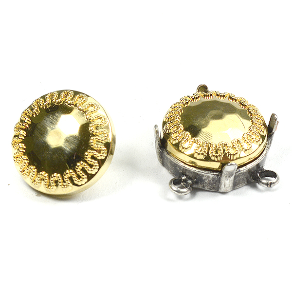 14mm gold color decorated embedding buttons
