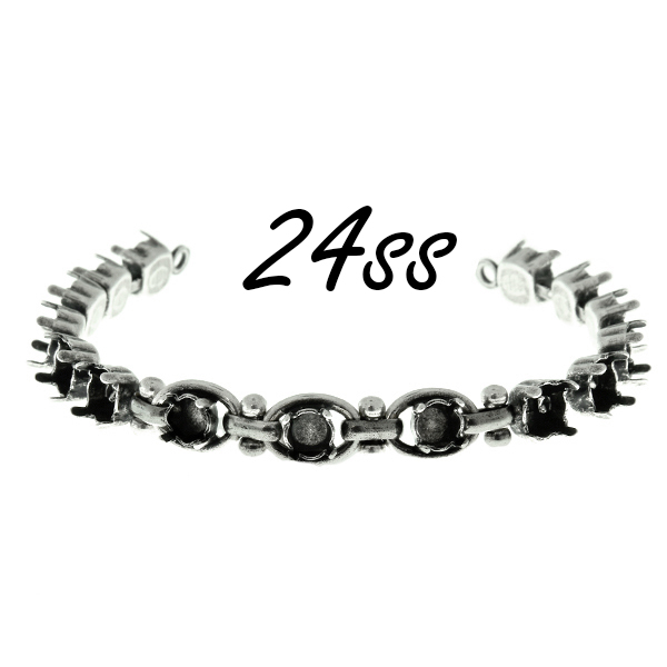 29ss cup chain bracelet base with decorated anchor brass oval link chain and 24ss settings inside of chain