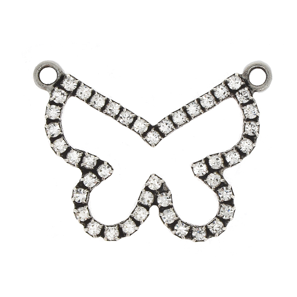 14pp Rhinestones Hollow Butterfly Pendant with 2 loops
