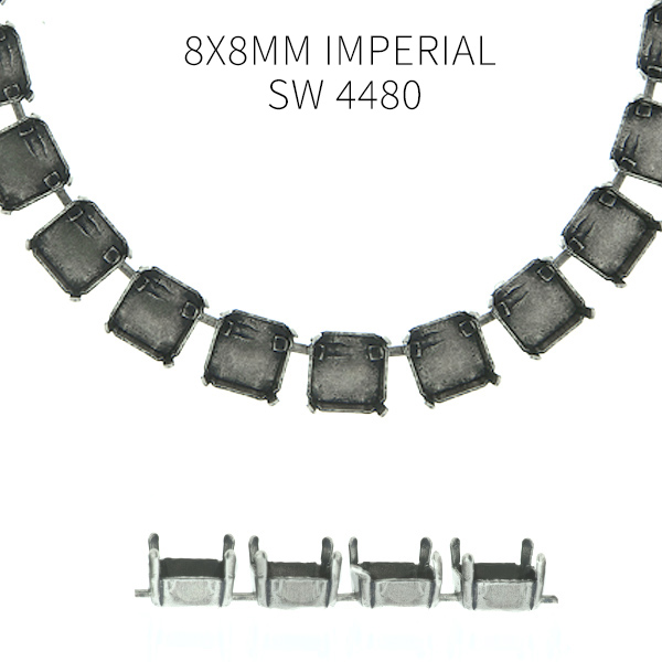 8x8mm Imperial 4480 empty Cup chain by meter for Necklace - 1 meter