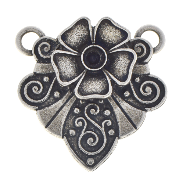 24pp Flower pendant base with two top loops