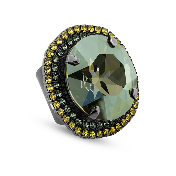 27mm round setting and double rows of Rhinestones Adjustable wide Ring base