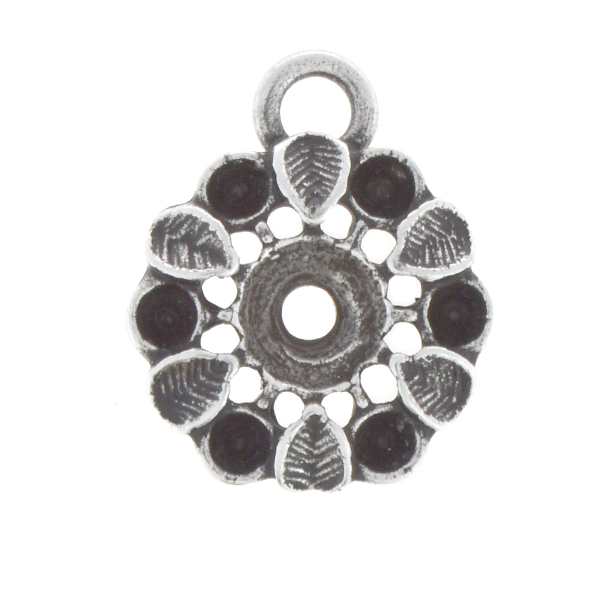 14pp, 24ss Flower with leaves pendant base with top loop