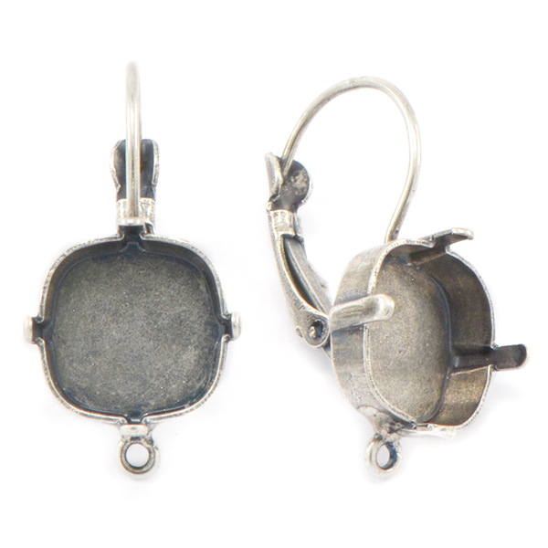 12x12mm Square Lever back Earring base with bottom loop