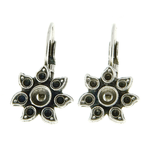 Metal casting Sunflower for 32pp and 8pp crystals Lever Back Earring bases