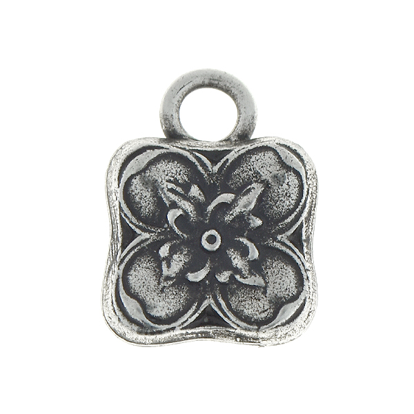 Floral square metal pendant with one 5mm top loop