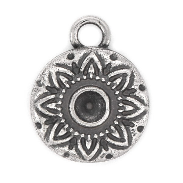 32pp Round adecorated Pendant base with top loop