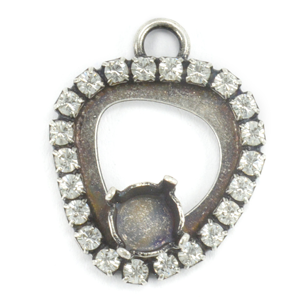 29ss Asymmetric shape pendant base with top loop and crystals