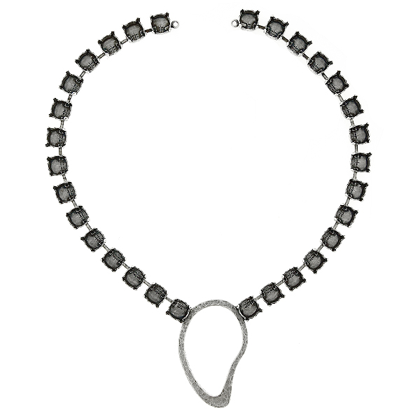 39ss Cup chain with Hammered asymmetric Oval shape casting element in the middle Necklace base - 30 settings