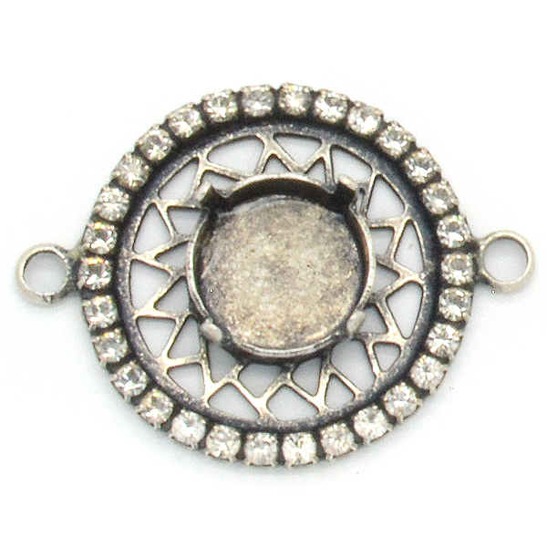 24mm Round decorated element with 12mm Rivoli setting