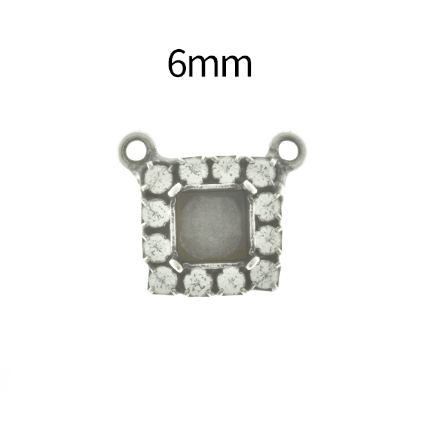 6mm Imperial  4480 Square Stone setting with Rhinestoness and two top loops