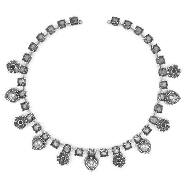 24pp, 39ss Necklace base with Flowers and Hearts