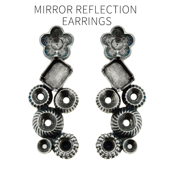 Empty Stud Dangling earring bases of mixed decorated settings in Art Nouveau style