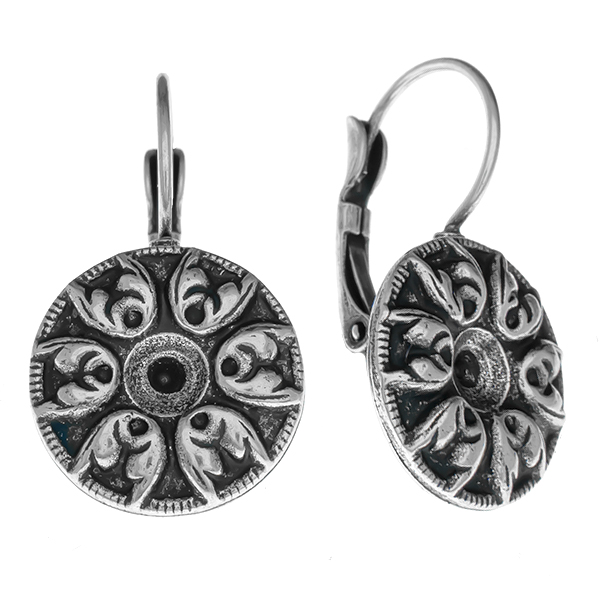24ss metal Baroque pattern round elements Lever back earring bases