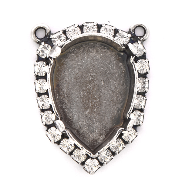 18x13mm Pear shape stone setting with Rhinestones and two loops