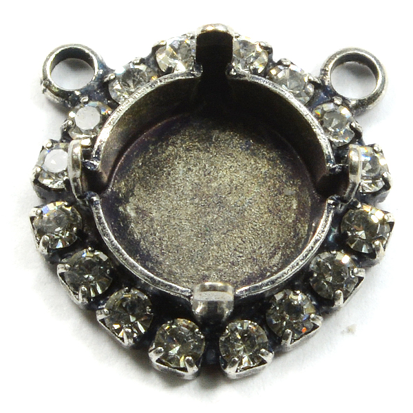 10mm/47ss Rivoli setting with top side loops and Rhinestoness