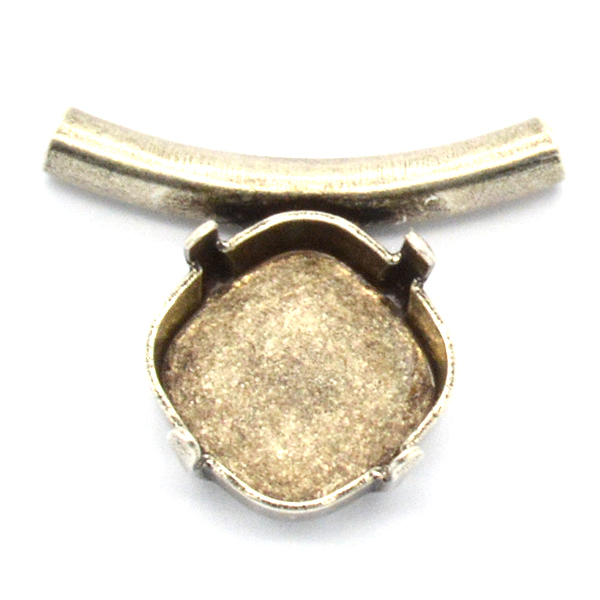 Brass tube 2mm inside diameter with Square 12X12mm setting