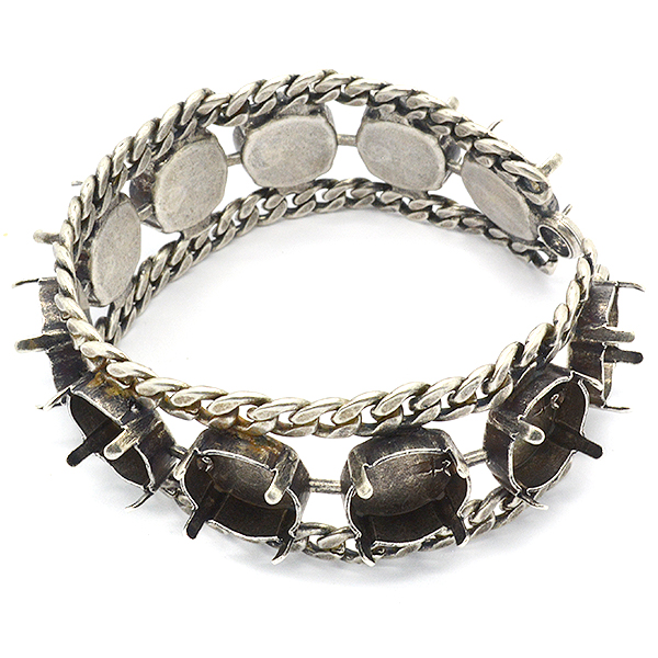 12mm Rivoli Bracelet base with Gourmet with two side loops
