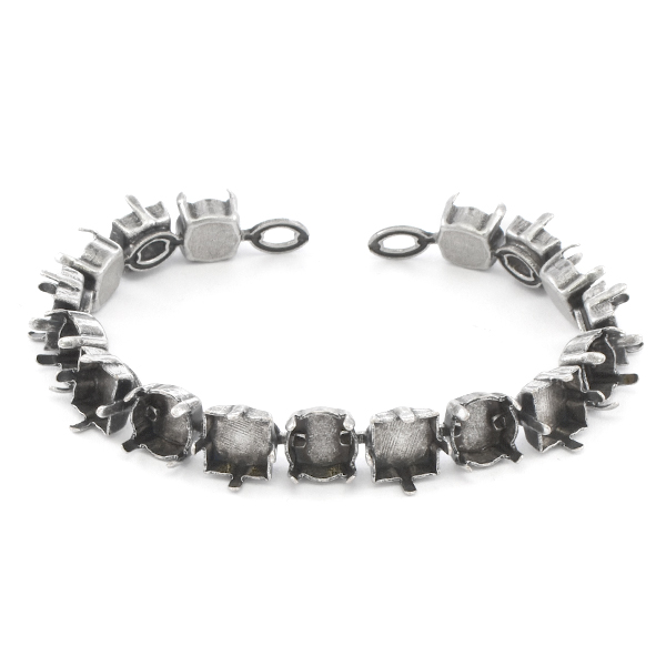 39ss, 8x8mm Square Cup chain Bracelet base - 17 settings