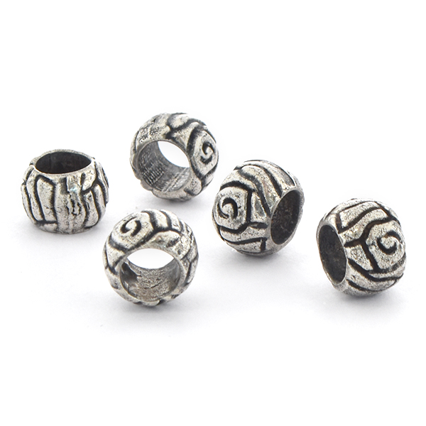 8.5mm Handmade Metal Beads with carved lines - 5pcs pack
