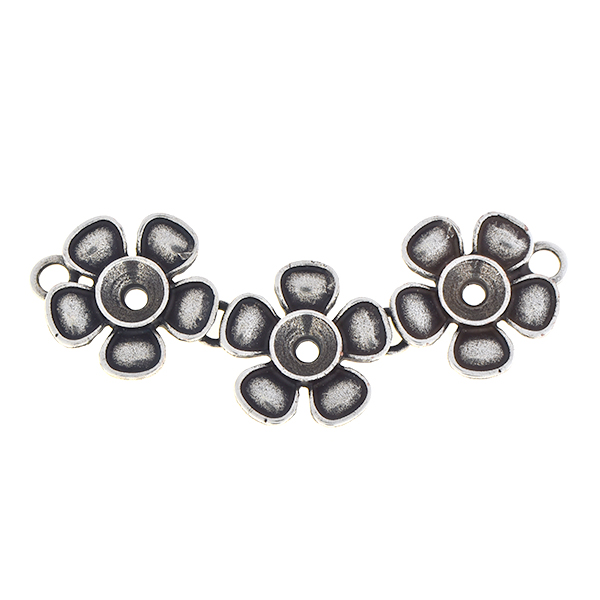 29ss Metal triple flower pendant base with two loops