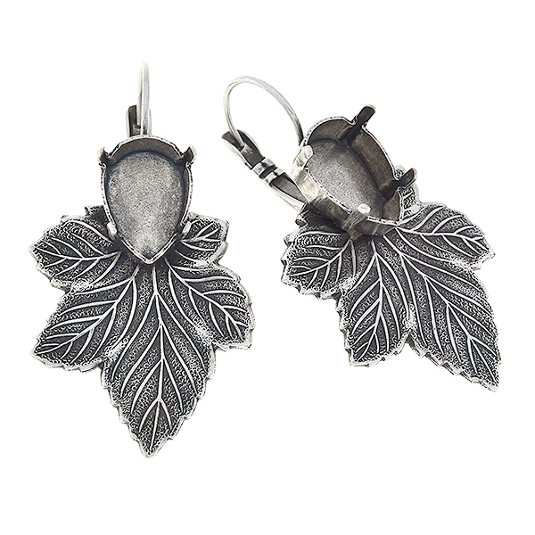 14x10mm Pear shape with leaf Lever back earrings bases