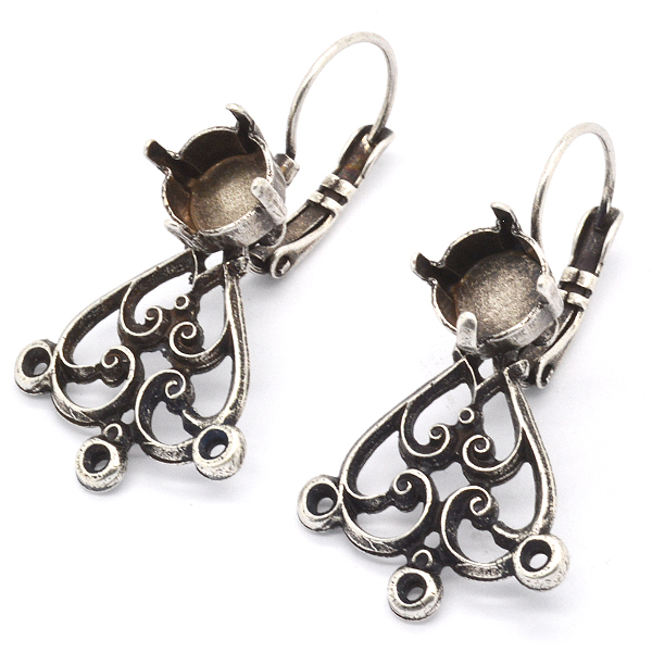 39ss Lever back Earring settings with Filigree Vintage element