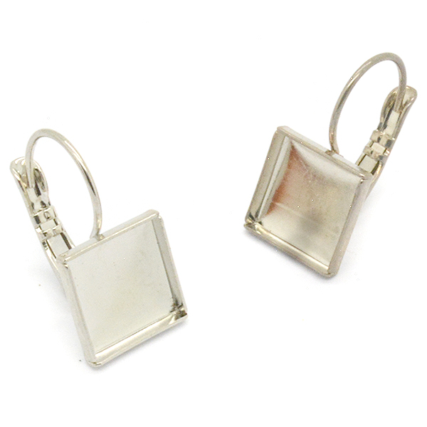 Square shaped hanging earrings base 10mm