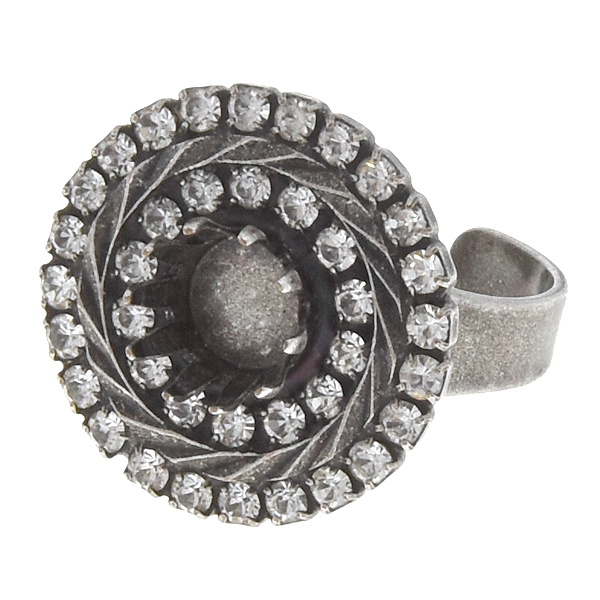39ss Crown ring base with double rows of Rhinestones