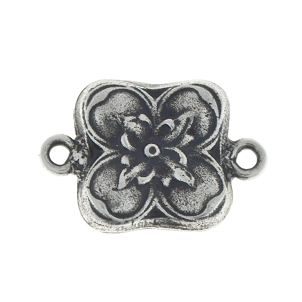 Floral square metal pendant with two side loops