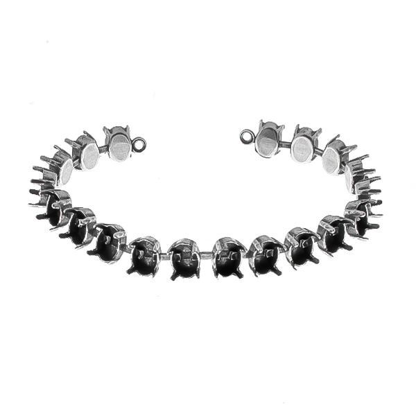 8x6mm Oval 4128 cup chain Bracelet base (19 settings) with end loops