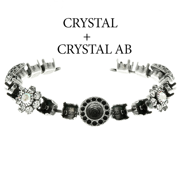 29ss cup chain and casting elements Bracelet base with Swarovski flower elements Crystal AB color