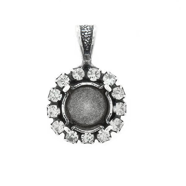 39ss stone setting with Rhinestoness  Pendant base with bail