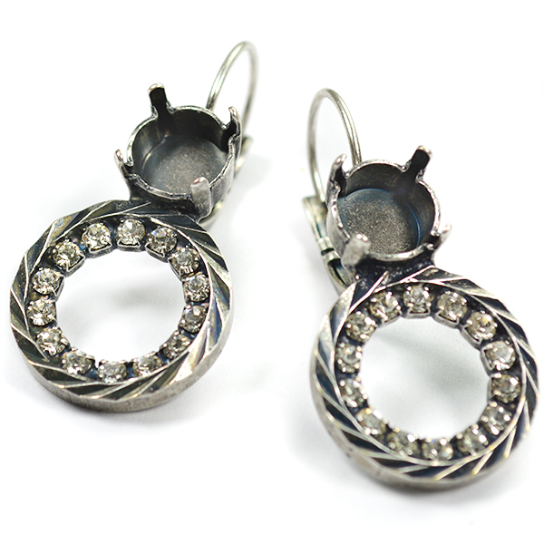 39ss Earring settings with Hollow Circle and Rhinestones