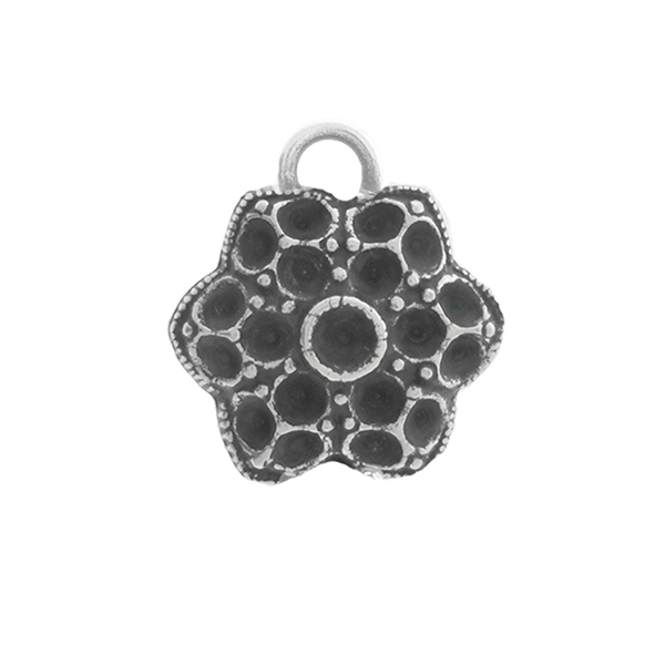 24pp, 18pp Middle Decorative Flower metal casting Pendant base with one top loop