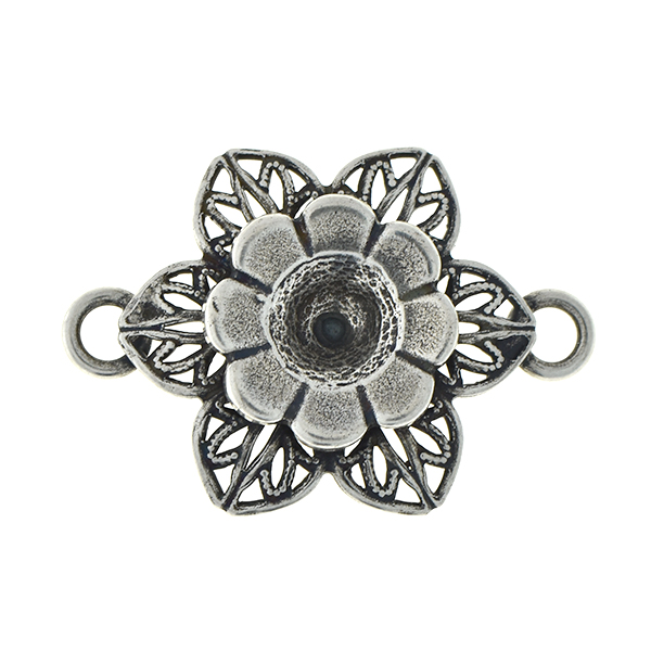 29ss metal flower with filigree petals pendant with two side loops