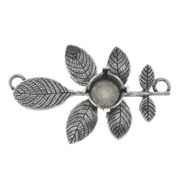 39ss Branch with leaves pendant base with two top loops