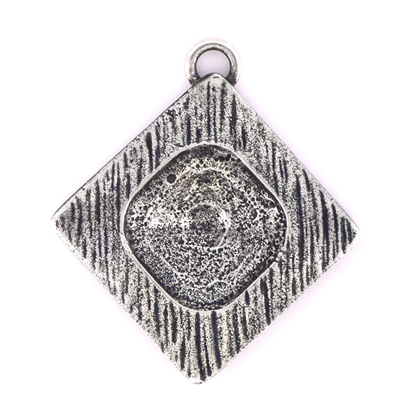 12x12mm Square setting in Lozenge shaped Pendant with top loop