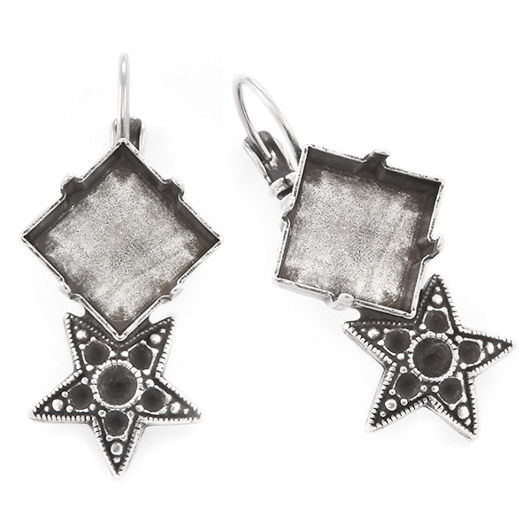 14pp, 24pp, 12x12mm Princess Square Earrings with Stars