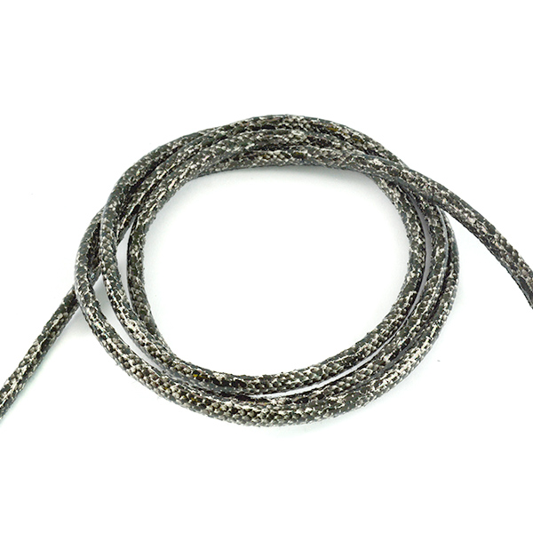 6mm Black White Round leather cord snake texture for jewelry making