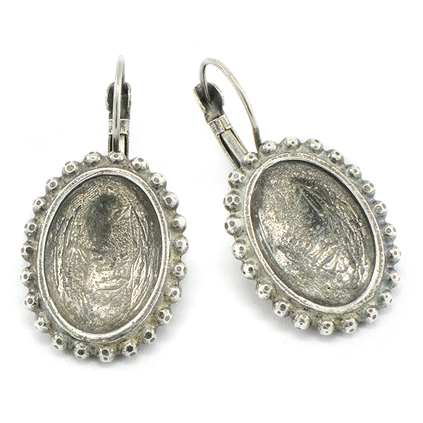 18x13mm Oval Cameo setting with 2mm ball chain Earring base