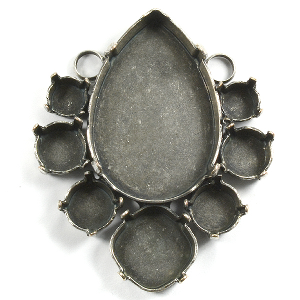 Pear shape pendant base with 2 top side loops