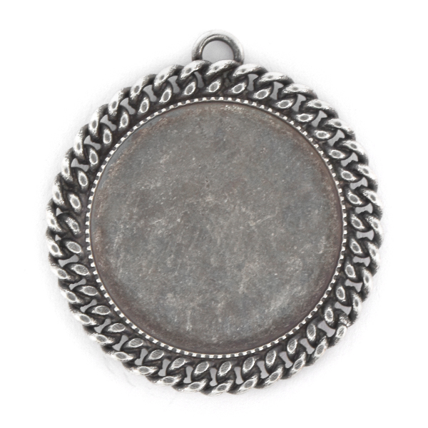 24mm Round Flat back Pendant with chain and 1 top loop