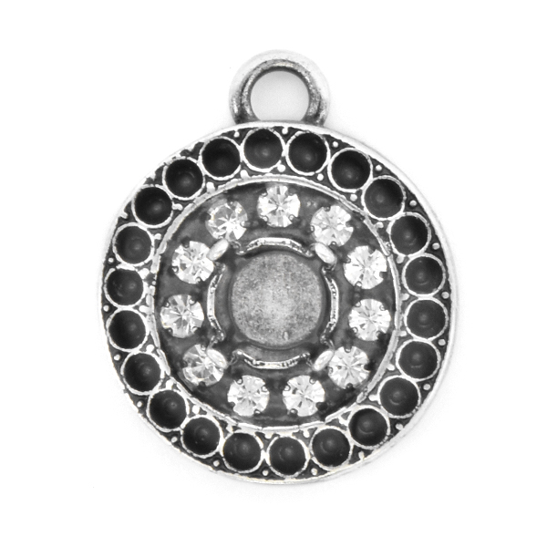 8pp, 29ss Round Pendant base with Rhinestones and top loop