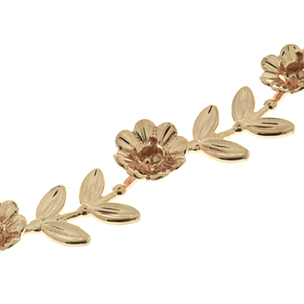 Unique 32pp Flower Branch with Leaves Cup chain for Bracelets by meter